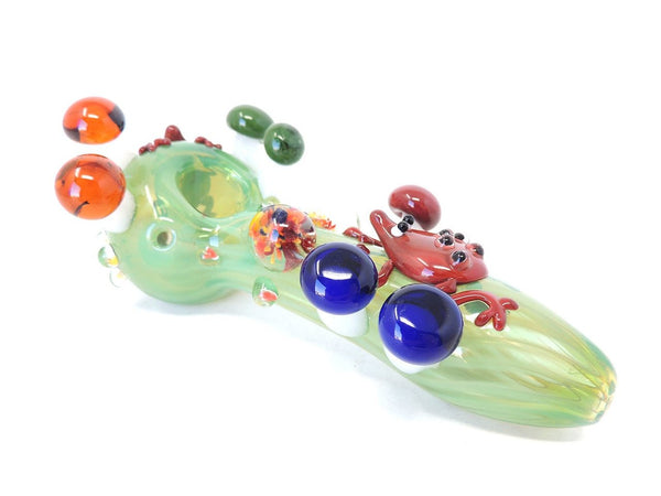 "GreenSt Wellness - 5"" Frogs and Mushrooms Hand Pipe"