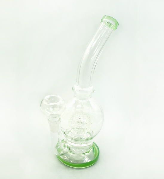 "GreenSt Wellness - 11"" Bent Blobe W/Matrix Sphere Perks Water Pipe"