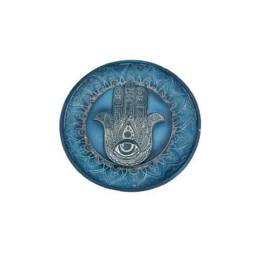 GreenSt  Wellness - Hamsa Round Plate Incense Stick Burner