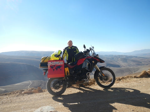 Mid-mountain range in Morocco.  MCCruise always works - when I got back to the tar, crossed rivers and brutal roads, it just kept going!