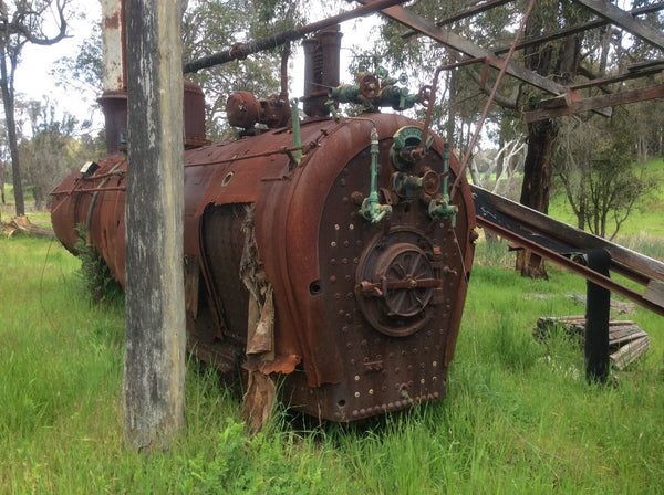 WA railways steam locomotive boiler that was used to supply steam to a basic steam engine that drove a timber mill.