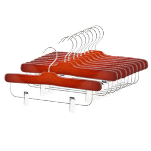 Perfecasa Cherry Wooden Pants Hangers 10 Pack