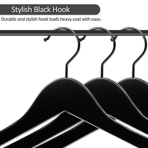 Perfecasa Black Wooden Hangers 20 Pack