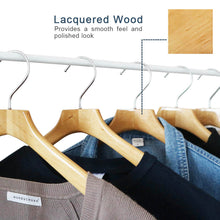 Load image into Gallery viewer, Perfecasa Natural Coat Wooden Hangers 10 Pack