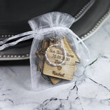 Personalised Oak Veneer Wood Our First Home Keyrings - Shop Personalised Engraved Gifts & Customised Cufflinks | From Willow