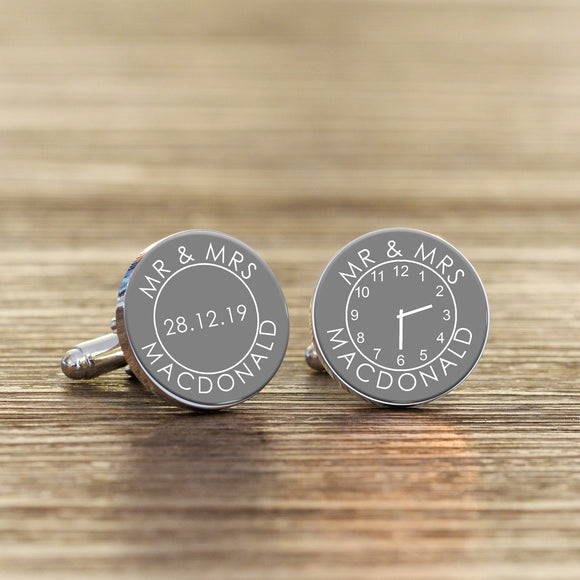 Personalised Mr And Mrs Bride to Groom Wedding Date & Time Cufflinks - Shop Personalised Engraved Gifts & Customised Cufflinks | From Willow