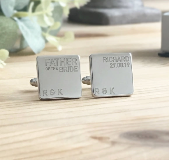 Personalised Engraved Wedding Role Party Role Cufflinks Best man Father of the Bride Cufflinks - Shop Personalised Engraved Gifts & Customised Cufflinks | From Willow