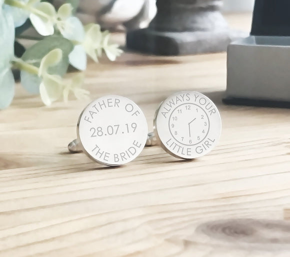 Personalised Engraved Father of the Bride Custom Clock Cufflinks - Shop Personalised Engraved Gifts & Customised Cufflinks | From Willow