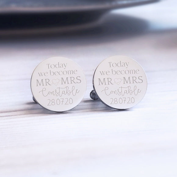 Personalised Engraved Today We Become Mr & Mrs Square Cufflinks - Shop Personalised Engraved Gifts & Customised Cufflinks | From Willow