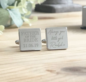 Personalised Engraved Father of the Bride Cufflinks Always Your Little Girl Wedding Cufflinks - Shop Personalised Engraved Gifts & Customised Cufflinks | From Willow