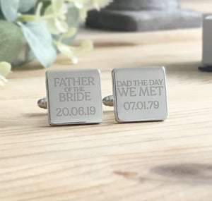 Personalised Engraved Father of the Bride Groom Cufflinks Dad The Day We Met - Shop Personalised Engraved Gifts & Customised Cufflinks | From Willow