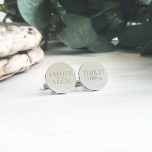 Personalised Engraved Father of the Bride Groom Wedding Cufflinks - Shop Personalised Engraved Gifts & Customised Cufflinks | From Willow