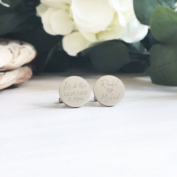 Personalised Engraved Bride to Groom Lets Do This Cufflinks - Shop Personalised Engraved Gifts & Customised Cufflinks | From Willow