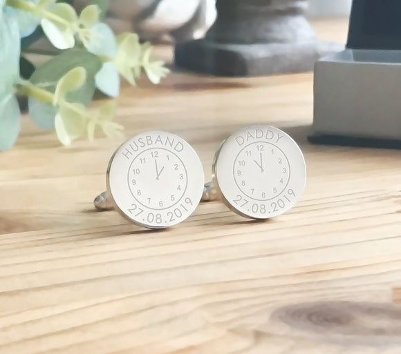 Personalised Any Time & Date Bride to Groom Cufflinks - Shop Personalised Engraved Gifts & Customised Cufflinks | From Willow