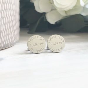 Personalised Engraved Father of the Bride Custom Wedding Date Cufflinks - Shop Personalised Engraved Gifts & Customised Cufflinks | From Willow