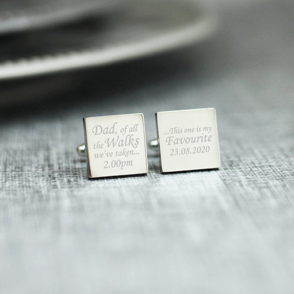 Personalised Engraved Dad Of All The Walks Wedding Role Cufflinks - Shop Personalised Engraved Gifts & Customised Cufflinks | From Willow