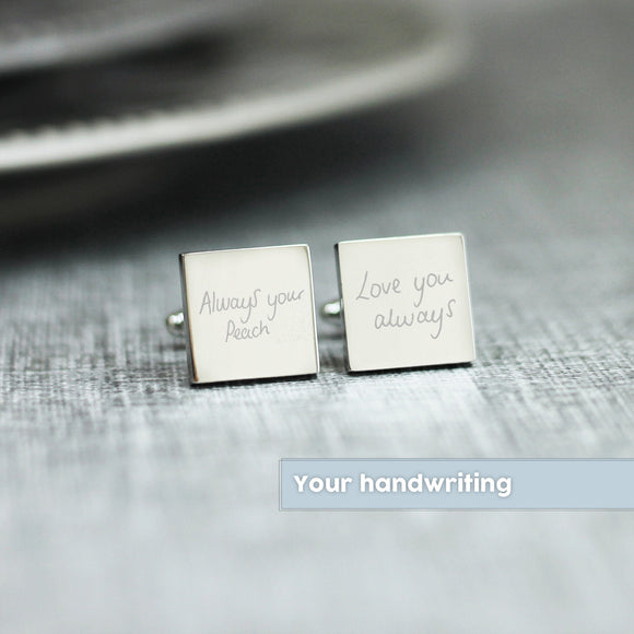 Personalised Engraved Custom Writing Handwriting Cufflinks - Shop Personalised Engraved Gifts & Customised Cufflinks | From Willow