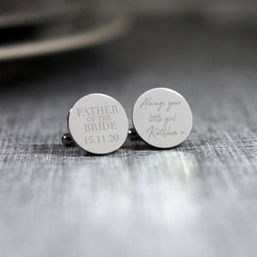 Personalised Engraved Father of the Bride Wedding Always your Little Girl Cufflinks - From Willow | Personalised Gifts