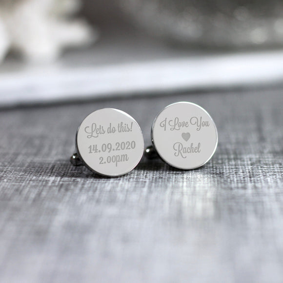 Personalised Engraved Groom Cufflinks Wedding Cufflinks Lets Do this - Shop Personalised Engraved Gifts & Customised Cufflinks | From Willow