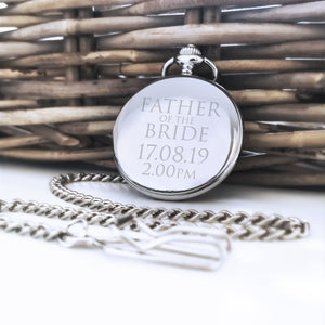 Personalised Engraved Father of the Bride Gift Pocket Watch - Shop Personalised Engraved Gifts & Customised Cufflinks | From Willow