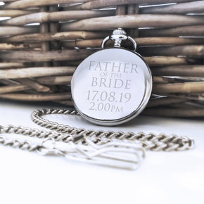 Personalised Engraved Pocket Watch Father of the Bride Best Man Gift - Shop Personalised Engraved Gifts & Customised Cufflinks | From Willow