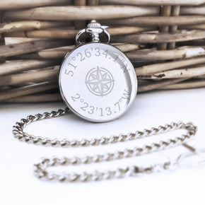 Personalised Engraved Coordinates Pocket Watch - Shop Personalised Engraved Gifts & Customised Cufflinks | From Willow
