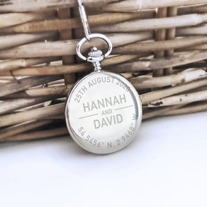 Personalised Engraved Bride to Groom Pocket Watch - Shop Personalised Engraved Gifts & Customised Cufflinks | From Willow