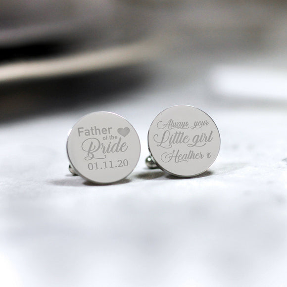 Personalised Engraved Always your Little Girl Custom Cufflinks - Shop Personalised Engraved Gifts & Customised Cufflinks | From Willow