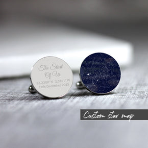 Personalised Star Map Any Time Date Location Cufflinks - From Willow | Personalised Gifts