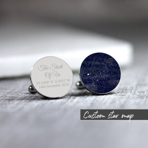 Personalised Star Map Any Time Date Location Cufflinks - Shop Personalised Engraved Gifts & Customised Cufflinks | From Willow