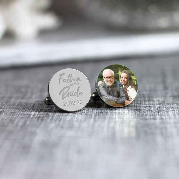 Personalised Engraved Father of the Bride Custom Photo Cufflinks - Shop Personalised Engraved Gifts & Customised Cufflinks | From Willow
