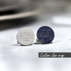 Personalised Custom Star Map Any Time Date Cufflinks - From Willow | Personalised Gifts