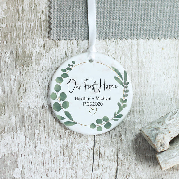 Personalised Our First Home Keepsake Ceramic Ornament - Shop Personalised Engraved Gifts & Customised Cufflinks | From Willow