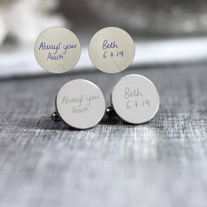 Personalised Engraved Custom Handwriting Cufflinks - Shop Personalised Engraved Gifts & Customised Cufflinks | From Willow