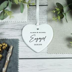 Personalised Engagement Heart Ornament Engaged Keepsake - From Willow | Personalised Gifts