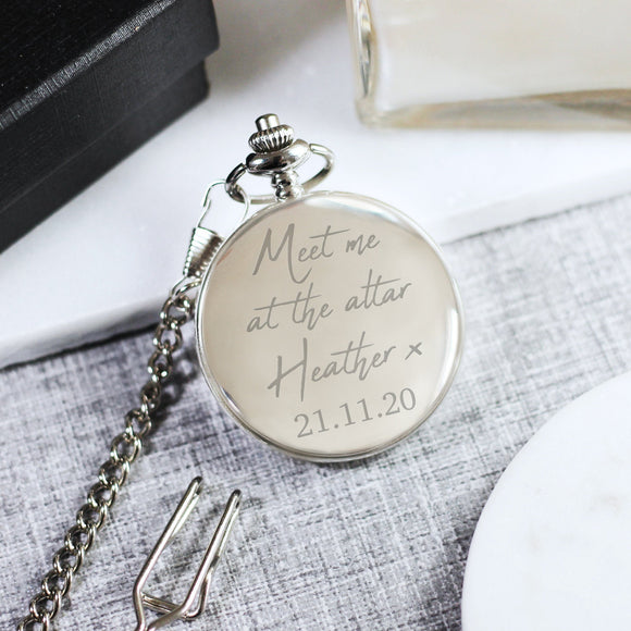 Personalised Engraved Pocket Watch - Bride to Groom Pocket Watch - Shop Personalised Engraved Gifts & Customised Cufflinks | From Willow