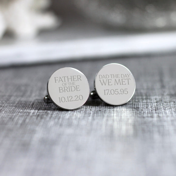 Personalised Engraved  Father of the Bride Groom Dad The Day We Met Cufflinks - Shop Personalised Engraved Gifts & Customised Cufflinks | From Willow