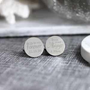 Personalised Engraved Bride to Groom Gift Cufflinks - Shop Personalised Engraved Gifts & Customised Cufflinks | From Willow