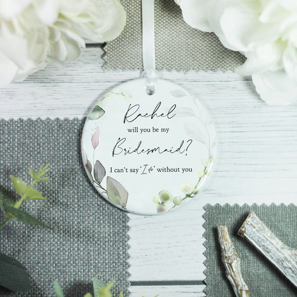 Personalised Wedding Role Bridesmaid Maid of Honour Keepsake Ceramic Ornament - Shop Personalised Engraved Gifts & Customised Cufflinks | From Willow