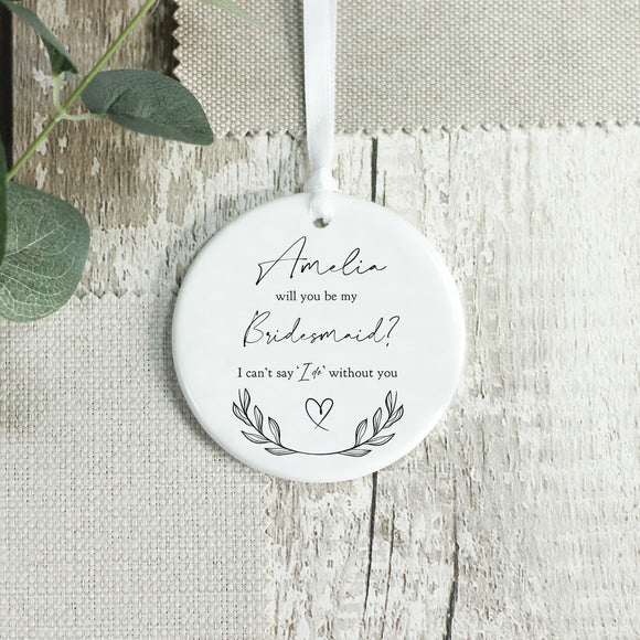 Personalised Bridesmaid Invitation Ceramic Keepsake - Shop Personalised Engraved Gifts & Customised Cufflinks | From Willow