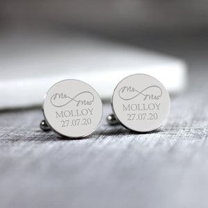 Personalised Engraved Mr & Mrs Infinity Symbol Cufflinks - Shop Personalised Engraved Gifts & Customised Cufflinks | From Willow