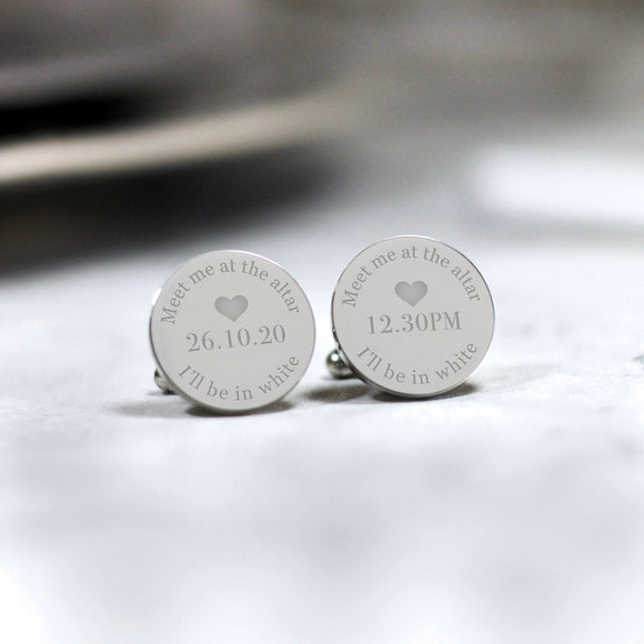 Personalised Engraved Groom Meet Me At The Altar Wedding Cufflinks - Shop Personalised Engraved Gifts & Customised Cufflinks | From Willow