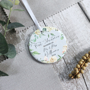 Personalised First Christmas Married Ceramic Keepsake Ornament - Shop Personalised Engraved Gifts & Customised Cufflinks | From Willow