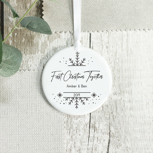 Personalised First Christmas Together Couple Gift Ceramic Keepsake Ornament - Shop Personalised Engraved Gifts & Customised Cufflinks | From Willow