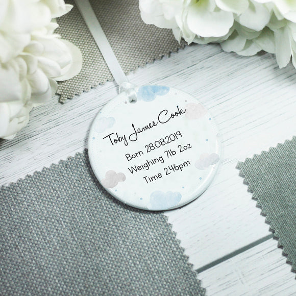 Personalised New Baby Ceramic Decoration Keepsake - Shop Personalised Engraved Gifts & Customised Cufflinks | From Willow
