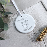 Personalised First Christmas As Mr and Mrs Ceramic Keepsake - Shop Personalised Engraved Gifts & Customised Cufflinks | From Willow