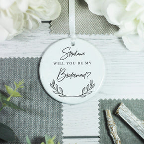 Personalised Wedding Role Bridesmaid Keepsake Ceramic Ornament - Shop Personalised Engraved Gifts & Customised Cufflinks | From Willow