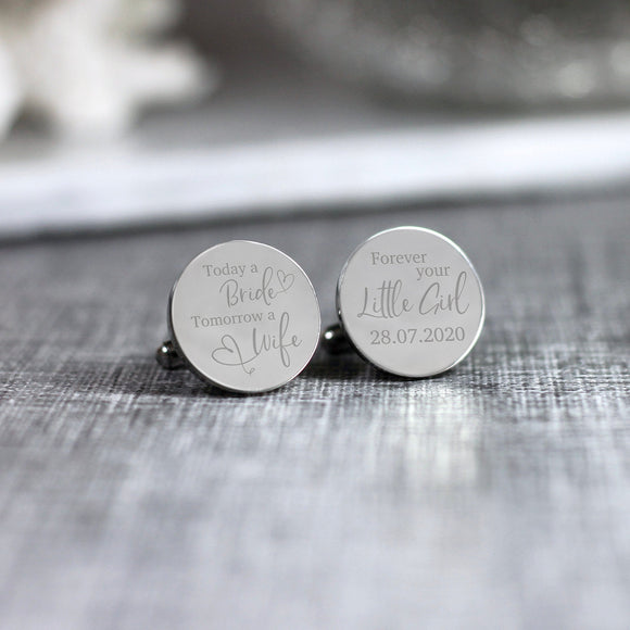Personalised Engraved Today a Bride Tomorrow a Wife Father of the Bride Cufflinks - Shop Personalised Engraved Gifts & Customised Cufflinks | From Willow