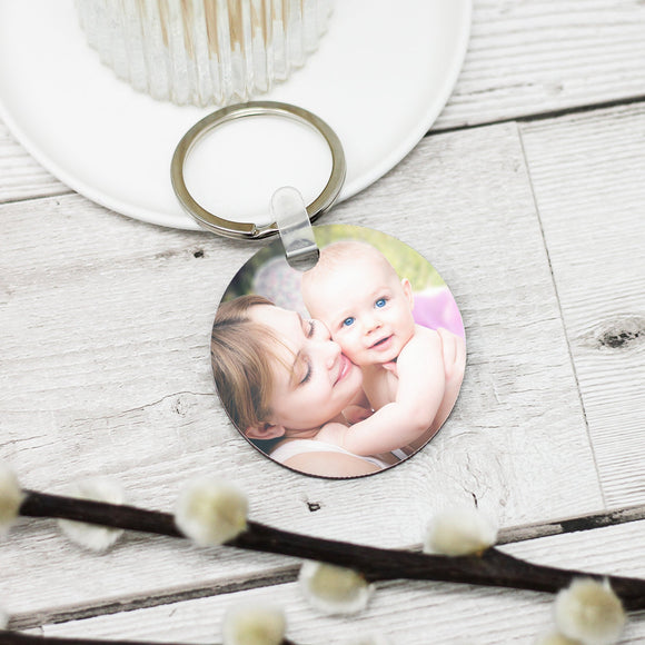 Personalised Round Photo Keyring - Shop Personalised Engraved Gifts & Customised Cufflinks | From Willow