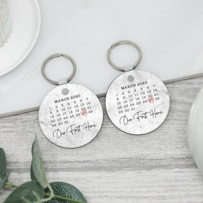 2x Personalised Our First Home Calendar Keyrings - Shop Personalised Engraved Gifts & Customised Cufflinks | From Willow